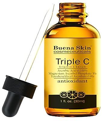 Triple Vitamin C Serum L-Ascorbic Acid by Buena Skin, Boosts Collagen, Repairs Sun Damage, Blocks Melanin, Fights Acne, Fades Age Spots, And Fights Wrinkles- 1oz