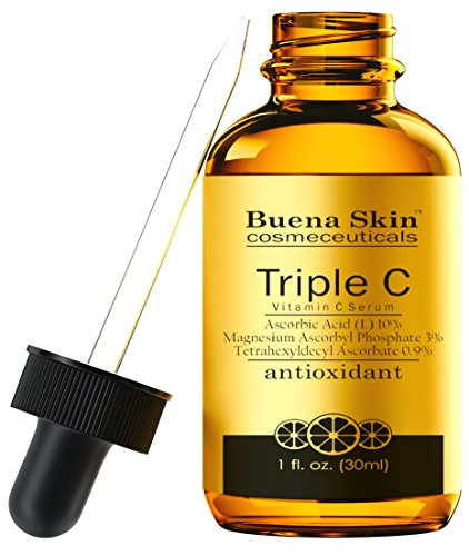 Triple Vitamin C Serum L-Ascorbic Acid - 6X Stronger Than 20% Serum - Boosts Collagen, Repairs Sun Damage, Blocks Melanin, Fights Acne, Fades Age Spots, And Fights Wrinkles- 1oz By Buena Skin