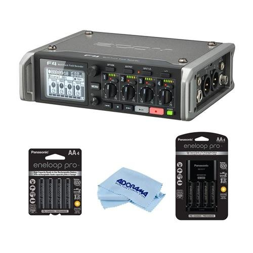 Zoom F4 Multitrack Field Recorder with Timecode - 8x AA Ni-MH Batteries With Charger, Microfiber Cloth