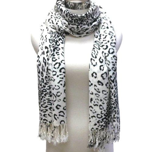 Premium Fashion Animal Print Leopard Shawl Scarf Wrap - Fringed Leopard Black & - White Leopard