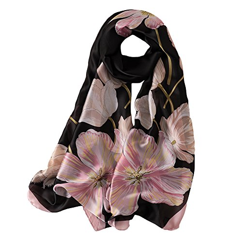 Satin Silk Long Scarf - 100% Silk Scarf - Women's Fashion Large Sunscreen Shawls Wraps - Lightweight Floral Pattern Satin for Headscarf&Neck (Flower-black)