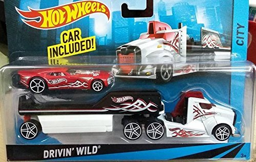 - Hot Wheels City Rig - Drivin' Wild Semi and Trailer with Nitro Coupe - White Truck, Red Car - 1:64 scale vehicle