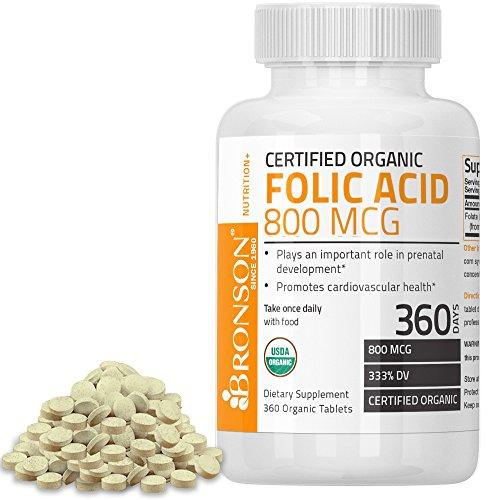 Folic Acid Pills (Bronson Organic Folic Acid, USDA Certified & Vegetarian, Ultimate Prenatal Vitamin, 360 Tablets)