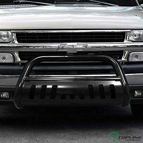 Topline Autopart Black Bull Bar Brush Push Front Bumper Grill Grille Guard With Skid Plate For 99-07 Chevy Silverado / 00-06 Suburban/Tahoe ; 99-07 GMC Sierra / 00-06 Yukon 1500