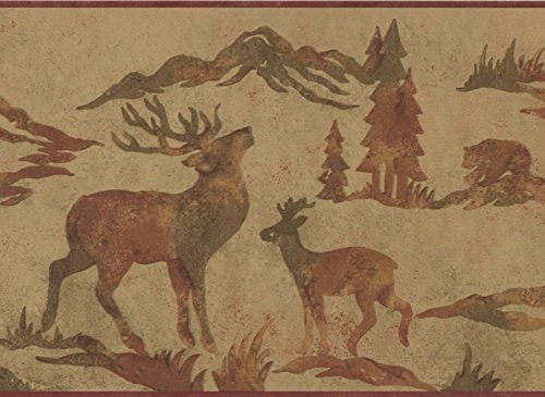 Wildlife Outdoors Moose Deer Elk Silhouettes Brown Wallpaper Border Retro Design, Roll 15