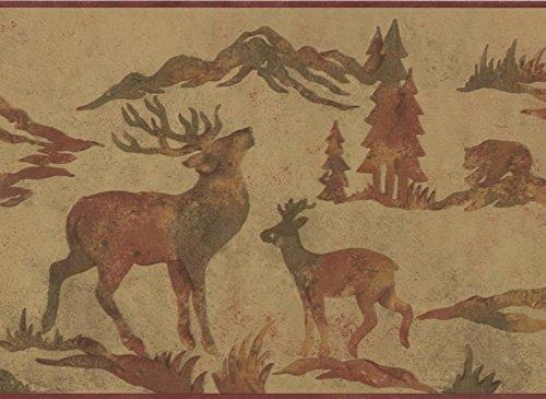 Wildlife Outdoors Moose Deer Elk Silhouettes Brown Wallpaper Border Retro Design, Roll 15' x 9