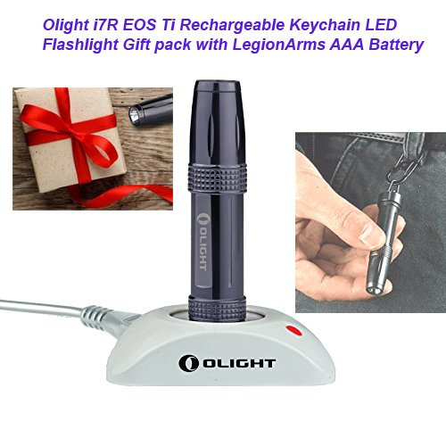OLIGHT i7R EOS Ti Limited Edition Titanium Rechargeable 10440 320mAh LED Keychain Flashlight Gift Pack USB Charging Dock & Magnetic Flat Tailcap with LegionArms AAA Backup Battery, 120 lm