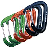 CARAPEAK 12KN Mini Wiregate Aluminum Lightweight 6 Packs Set Hammock Snag Free Carabiners Asymmetric D Shape Black Orange Green
