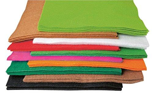 Bastelfilz, 50 Platten à 20 x 30 cm, Filz, Filzplatten, 10 Farben sortiert.