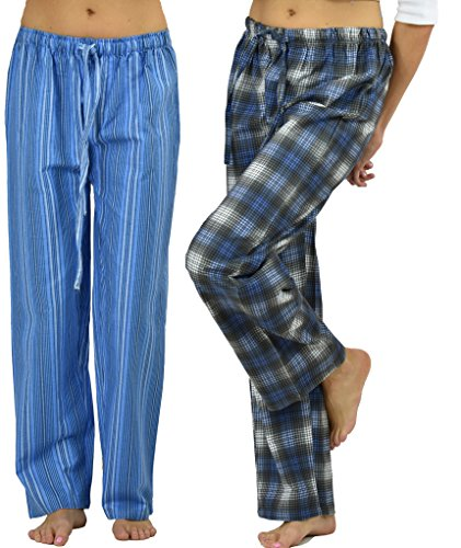 Up2date Fashion Women's Lounge Pants Combo Pack,100% Cotton Flannel (Set of 2 Pants (Flannel Lounge Pants)