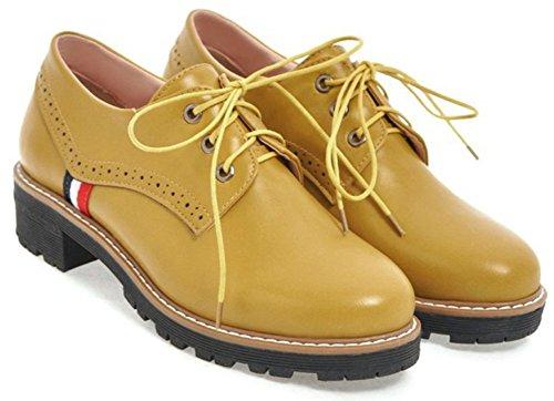Women's Yellow IDIFU Top Block Up Oxfords Mid Low Round Fashion Toe Low Heels Shoes Cut Lace dZqSrZ