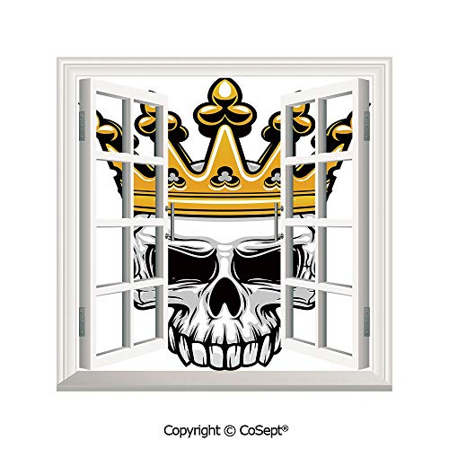 SCOXIXI Open Window Wall Mural,Hand Drawn Crowned Skull Cranium with Coronet Tiara Halloween Themed Image Decorative,for Living Room(26.65x20 inch) -