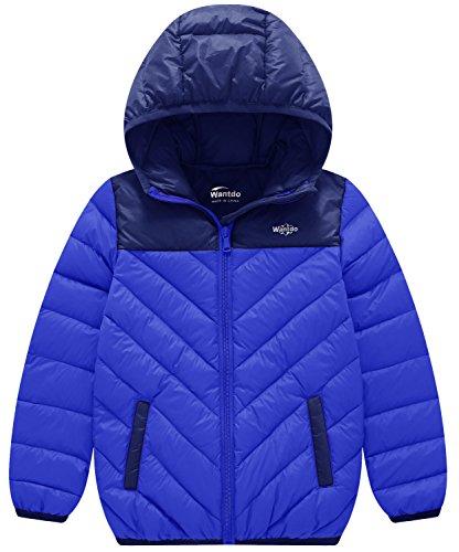 Wantdo Boy's Lightweight Packable Puffer Down Jacket Hooded Windproof Color Block Winter Coat(Sapphire Blue, 8) by Wantdo (Image #1)