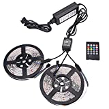 NEWSTYLE 2 Reels 12V 32.8Ft Flexible RGB LED Strip Light Kit, Multi-colored, 600 PCS 3528 LEDs, LED Strip Kit & 2-ports 20key IR Music Remote, 12V Power Supply, IP65 Waterproof, Adhesive Light Strips