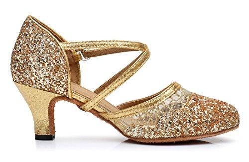 6cm MGM Pumps Heel Cross Synthetic Shoes Strap Women's Toe Mesh Wedding Party Tango Joymod Sequins Latin Closed Dance Gold Modern Social Prom qwgqRfA