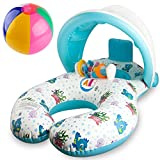 WATINC Inflatable Baby Pool Float, Parent-Child Swimming Ring for 8 - 36 Months Old Baby, Removable Canopy with Water-Polo