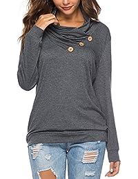 8b21748b32 Women s Casual T-Shirt Long Sleeve Button Cowl Neck Tunic Sweatshirt Tops  Blouse