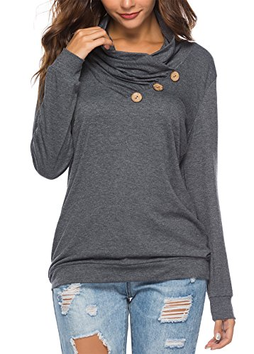 KISSMODA Loose Fit Tshirt Blouse for Women Basic Tops Long Sleeves with Buttons Solid Color Drak Gray Medium (Solid Cowl Neck Sweater)