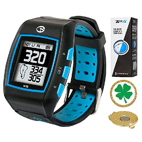 AMBA GolfBuddy WT5 Golf GPS/Rangefinder Watch (40k+ Preloaded Worldwide Courses) Bundle with 1 Sleeve (3 Balls) Taylormade TP5 and Magnetic Hat Clip Ball Marker (Four Leaf Clover) by Amba
