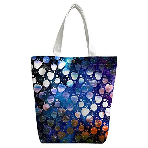 Intéressant Shopping Canvas personnalisé sac Sac bandoulière Sacs Violetpos main Galaxie Univers pommes à de Sac cartable Bleu déjeuner qwY5xO