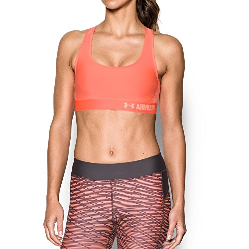 Under Armour Women's Armour Crossback Mid Sports Bra, London Orange (404)/Playful Peach, X-Small