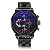Naviforce Date Week Men's Quartz Wrist Watch Stainless Steel Strap Casual Watch 9068 with Gift Box