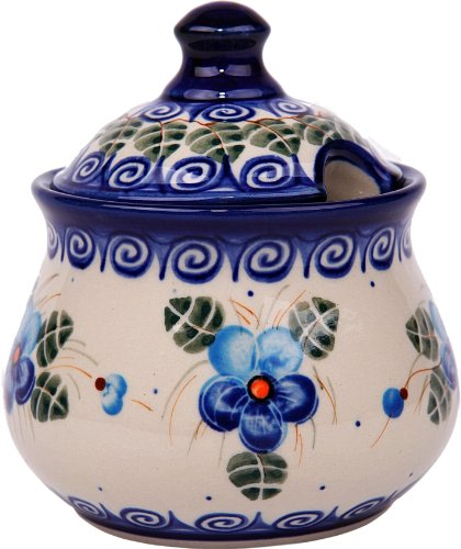 Polish Pottery Ceramika Boleslawiec, 0051/162, Sugar Bowl Iza, 1 Cup, Royal Blue Patterns with Blue Pansy Flower Motif