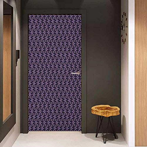 Door Sticker Geometric Pinwheel Design with Dark Color Palette Abstract Pattern Winter Motifs Glass Film for Home Office W36 x H79 Mauve Lavander Purple ()