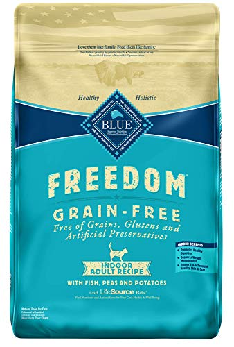 - Blue Buffalo Freedom Grain Free Natural Indoor Adult Dry Cat Food, Fish 11-lb.