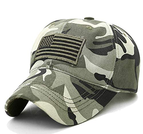 LOKIDVE Camo American Flag Hat Embroidered Polo Style Military Army Cap