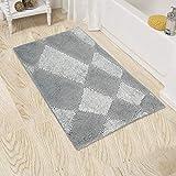 Hi Space Microfiber Grey Bath Rug,Soft Non Slip Kids Bath Mats Carpets for Bathroom Tub,Machine Washable Water Absorbent,20x31.5'' Grey Lattice