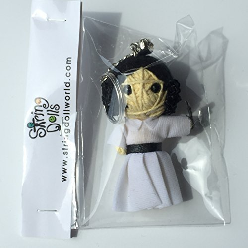 (Princess Leia with Pistol Voodoo String Doll Keychain Keyring - Shipped from USA)