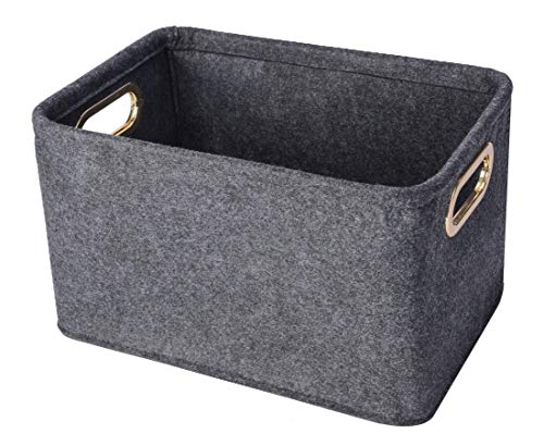 Minoisome Collapsible Storage Bins Foldable Felt Fabric Storage Basket Organizer Boxes Containers with Handles Metal Handles for Nursery Toys,Kids Room,Clothes
