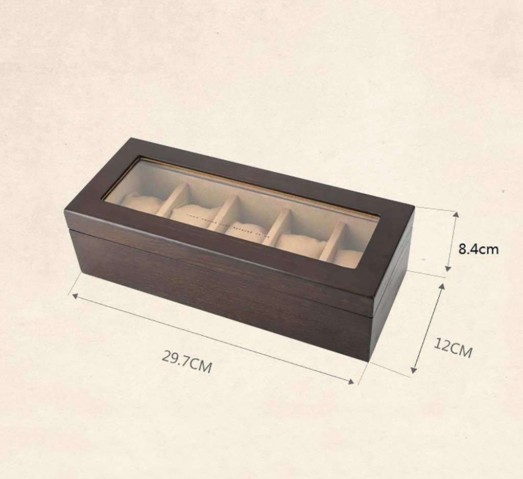 Unknow Scatola da Orologio in Legno Scatola da Orologio per Gioielli Scatola da Esposizione a più Griglie Scatola da 6 Orologi Scatola da 2 Colori (Colore: A) A