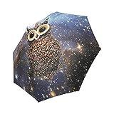 Personalized Custom Cute Coffee Owl Good Gift Folding Portable Outdoor Rain /Sun Umbrella Beach Travel Shade Sunscreen Anti-UV For Women/Men