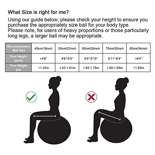 PROMIC Professional Grade Static Strength Exercise Stability Balance Ball with Foot Pump,65cm,Black by PROMIC (Image #6)