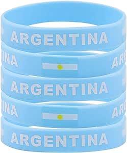 SpringPear® 5X Pulseras de Silicona con Bandera de Argentina Copa Mundial de la Fútbol FIFA Apoyos de Ventilador (5 Piezas): Amazon.es: Juguetes y juegos