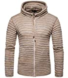 Spirio Men Outwear Zip Up Ribbed Kintted Solid Color Striped Cardigan Hooded Sweaters Khaki US XS