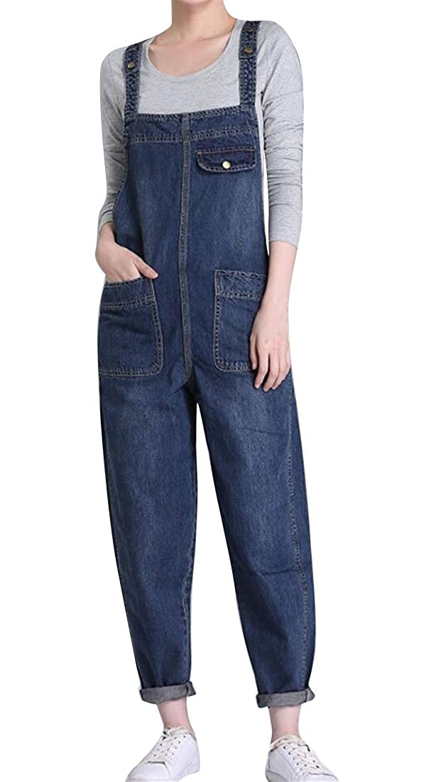BU2H Women Loose Fit Straps Large Size Denim with Pockets Slim Fit Overalls