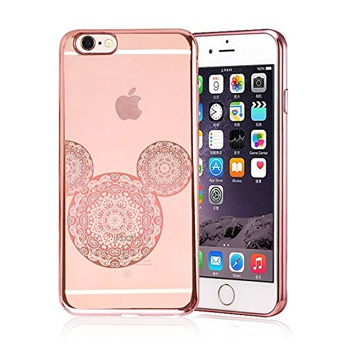 iPhone Cover , Rose Gold Shiny Mouse Pineapple Inspired Mandala Zen Tangle Cartoon Pattern Rubber Slim Fit Silicone TPU Case Cover for Apple (Pink iPhone (Mouse Pattern)