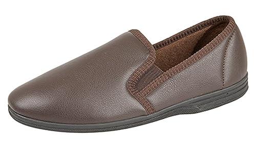 Zapatillas para hombre de imitación de cuero, color marrón, color Marrón, talla 40 EU: Amazon.es: Zapatos y complementos