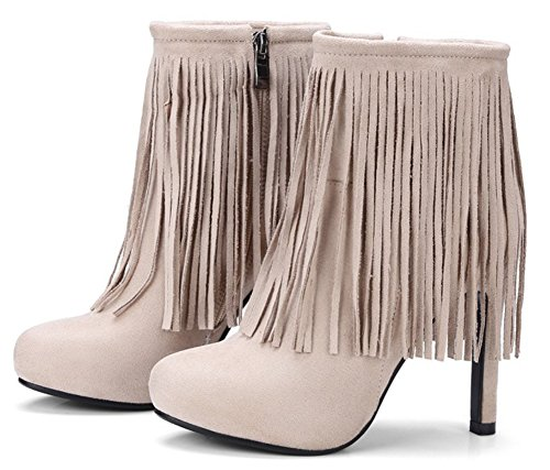 Boots Apricot Sexy Zipper Inside Tassel Microsuede Women's High Heels Chunky SHOWHOW vzqw65a8
