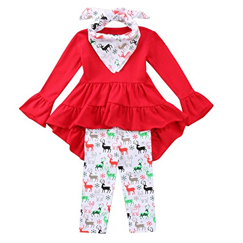 Toddler Girl Christmas Outfit Ruffles Tunic Dress Tops+Reindeer