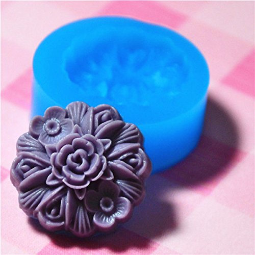 028LBH Flower Silicone Push Mold - Jewelry, Charms, Cupcake (Clay Fimo Epoxy Casting Resins Wax Gum Paste Fondant)