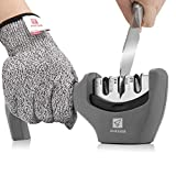 Kitchen Knife Sharpener - 3 Stage Knife Sharpening Tool Sharpens Chef's Knives - Kitchen Accessories Help Repair, Restore and Polish Blades Quickly, Food Safety Cut Resistant Gloves Included