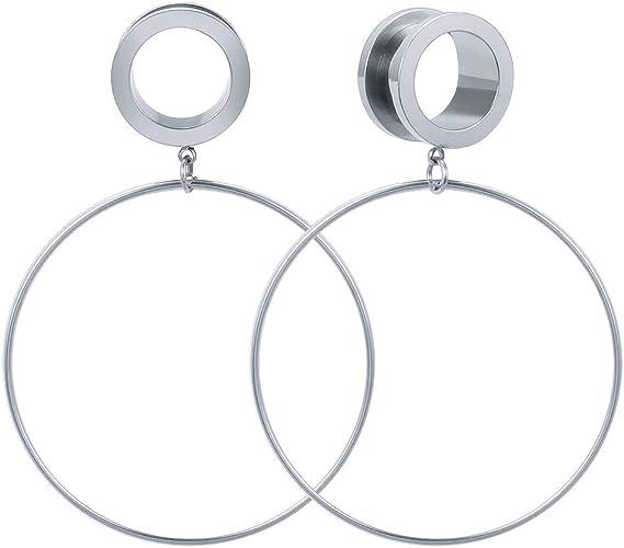 Women Stainless Steel Ear Tunnels Large Hoop Ear Plugs Expander Dangle Gauge