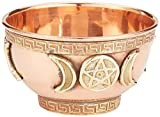Triple Moon Pentacle Copper Incense Burner 3""