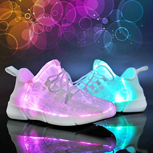 Yeeper Childrens Breathable Fiber Optic LED Light up Shoes with USB Charging Lightweight Fashion Sneaker for Toddler/Little Kid/Big Kid