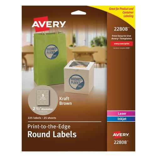Avery Kraft Brown Print-to-the-Edge Round Labels-Labels, Rou