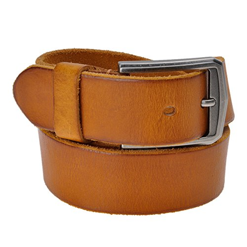 ZLYC Men's Classic Design Cowhide Grain Leather Belt 36mm Wide with Alloy (Brown Designer Belts)